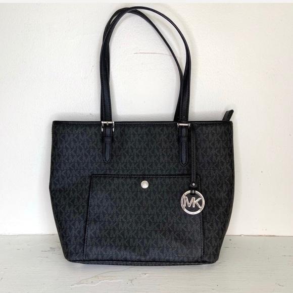 Michael Kors Handbags - Michael Kors Black Logo Print Jet Set Tote Handbag